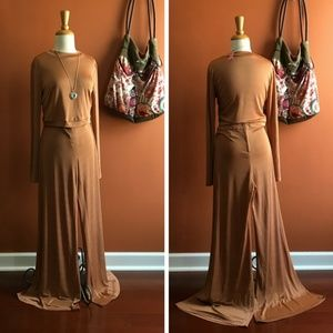 AKIRA CHICAGO Top L and Pants M Set Gold Brown NWT
